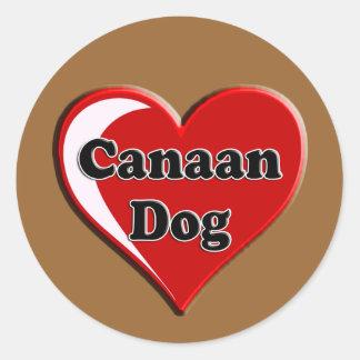 Kanaan på hjärta för hund älskare runt klistermärke