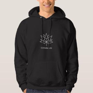 Kanada 150 officielllogotyp - vit skisserar sweatshirt med luva