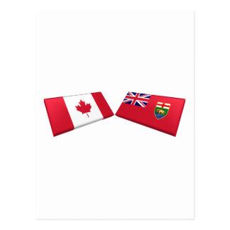 Kanada & den Manitoba flagga belägger med tegel Vykort