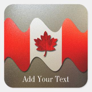 Kanada Flagga-Krom av Shirley Taylor Fyrkantigt Klistermärke