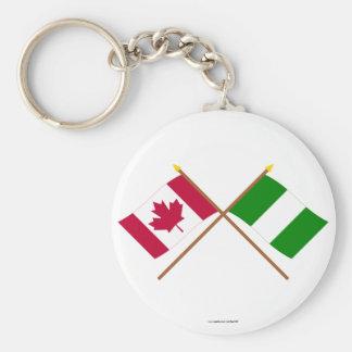 Kanada och Nigeria korsad flaggor Rund Nyckelring