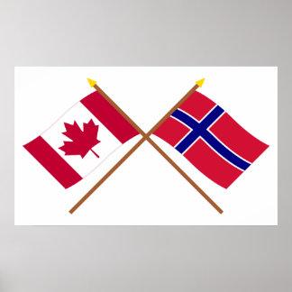 Kanada och norge korsad flaggor affisch