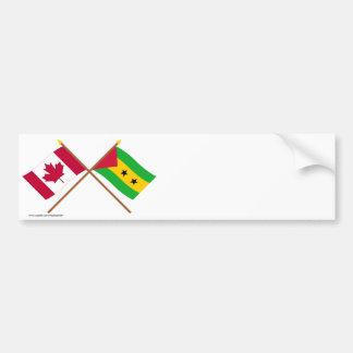 Kanada och Sao Tome & Principe korsad flaggor Bildekal
