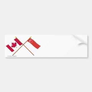 Kanada och Singapore korsad flaggor Bildekal