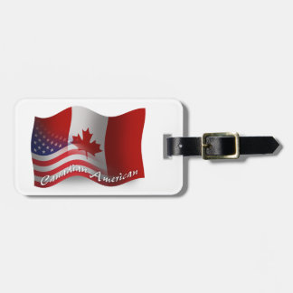 Kanadensare-Amerikan som vinkar flagga Bagagebricka