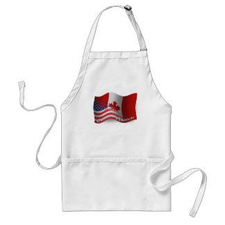 Kanadensare-Amerikan som vinkar flagga Förkläde