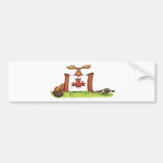 Kanadensisk flagga med älg, bäver och gåsen bildekal