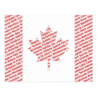 Kanadensisk flagga med stads- och townnamnvykortet vykort