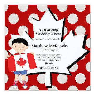 Kanadensisk födelsedagpojke fyrkantigt 13,3 cm inbjudningskort