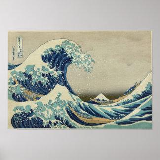 Kanagawa vinkar vid Katsushika Hokusai Poster