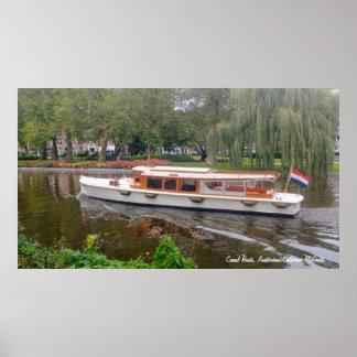 Kanalfartyg, Amsterdam, Nederländerna Poster