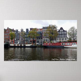 Kanalhus, Amsterdam, Nederländerna Poster