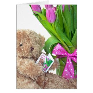 Känd Dag-nalle björn med tulpan Hälsningskort