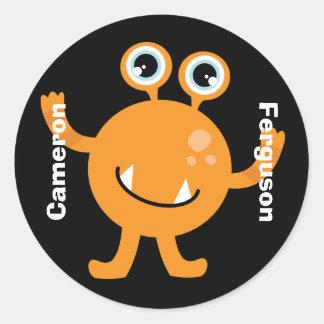 Känd etikett/klistermärke - orange gigantisk runt klistermärke