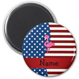 Känd patriotisk flamingo för personlig magnet rund 5.7 cm