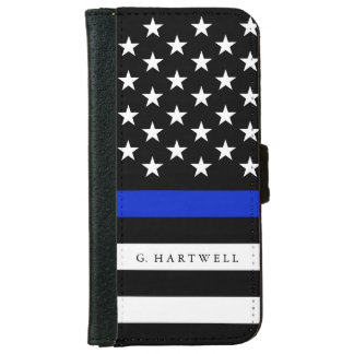 Känd patriotisk polisflagga för anpassningsbar plånboksfodral för iPhone 6/6s