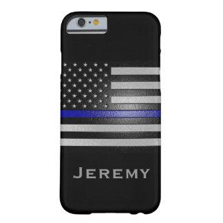 Känd präglad tunn blålinjenflagga för personlig barely there iPhone 6 skal