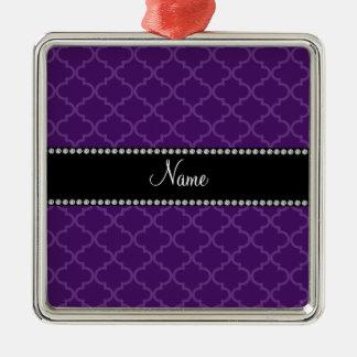 Känd purpurfärgad moroccan för personlig silverfärgad fyrkantigt julgransprydnad