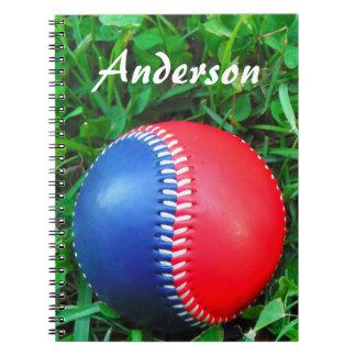 känd röd vit- & blåttbaseball för anpassningsbar anteckningsbok med spiral