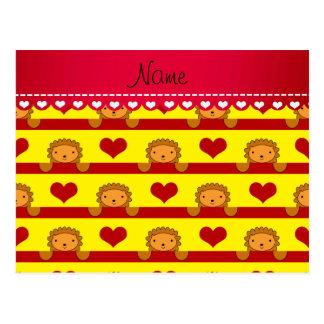 Kända lejona gula hjärtarandar för personlig vykort