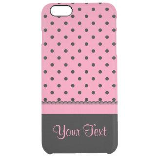 Kända shock rosa för polka dots för rörsockasvart clear iPhone 6 plus skal