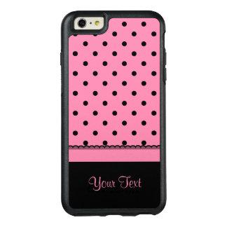 Kända shock rosa för polka dots för rörsockasvart OtterBox iPhone 6/6s plus skal