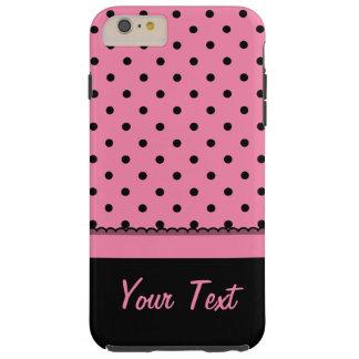 Kända shock rosa för polka dots för rörsockasvart tough iPhone 6 plus skal