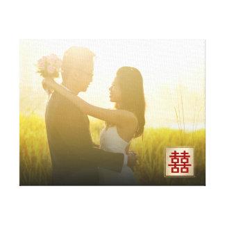 Kanfas för foto för bröllop för dubbel lycka för