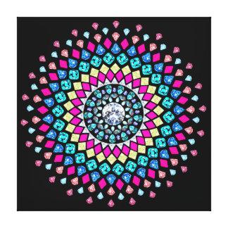 Kanfas för Mandala för neondiamantexplosion Canvastryck