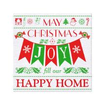 Kanfas för text för julglädjebaner slågen in konst kanvastryck