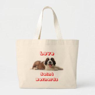 Kanfas Totebag för hund för kärlekSt Bernard valp Jumbo Tygkasse