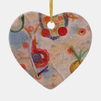 Kanfaskonst Hjärtformad Julgransprydnad I Keramik