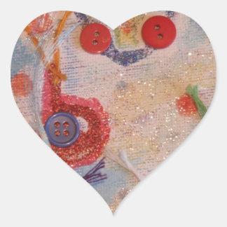 Kanfaskonst Hjärtformat Klistermärke