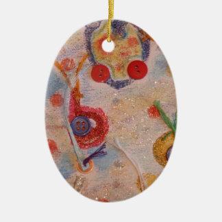 Kanfaskonst Ovalformad Julgransprydnad I Keramik