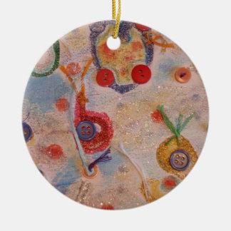 Kanfaskonst Rund Julgransprydnad I Keramik