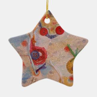 Kanfaskonst Stjärnformad Julgransprydnad I Keramik