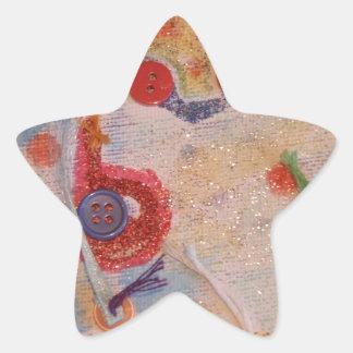 Kanfaskonst Stjärnformat Klistermärke