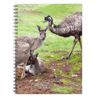 Kangaroo_And_Emu _, Anteckningsbok Med Spiral
