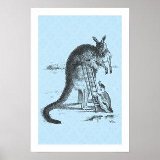 Känguru för klättring för vintageillustrationanka print