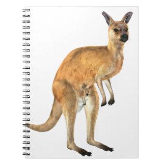 Känguru med den känguruunge babyen anteckningsbok