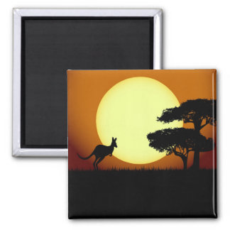Känguru på solnedgången magnet
