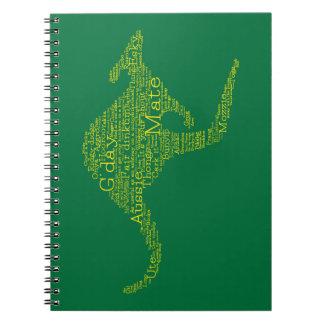 Känguru som göras av australiensisk slang anteckningsbok