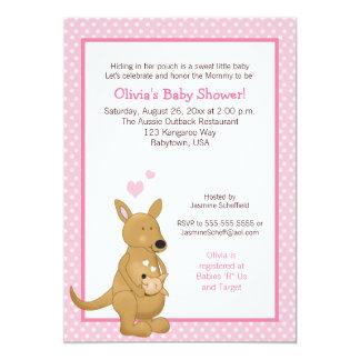 Kängurubaby showerinbjudan med rosor pricker 12,7 x 17,8 cm inbjudningskort
