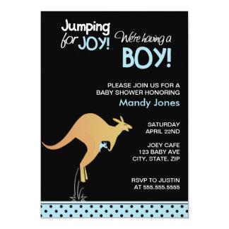 Kängurubanhoppning för modern pojkebaby shower för 12,7 x 17,8 cm inbjudningskort