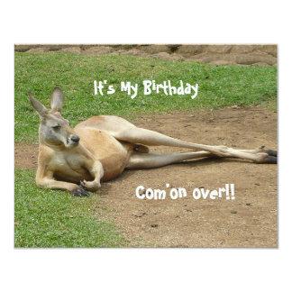 Känguruinbjudanfödelsedagsfest 10,8 X 14 Cm Inbjudningskort