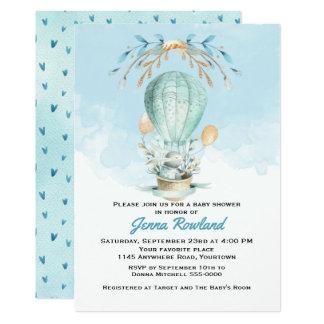 Kanin i en luftballongbaby showerinbjudan 12,7 x 17,8 cm inbjudningskort