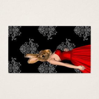 Kanin i röd klänning visitkort