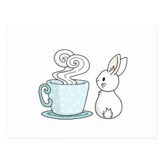 Kanin med en kopp av Tea Vykort