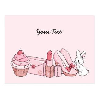 Kanin med rosasaker vykort