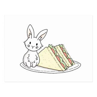 Kanin med smörgåsar vykort
